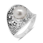 Bali Legacy Collection South Sea Silver Pearl (9.5 mm) Sterling Silver Ring (Size 10.0)