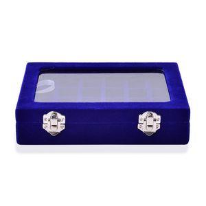 Gem Workshop Blue Velvet Jewelry Organizer with Glass Window and Lock (7.9x6x1.8 in)
