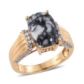 Austrian Pinolith, Cambodian Zircon 14K YG Over Sterling Silver Ring (Size 5.0) TGW 7.46 cts.