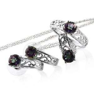 Northern Lights Mystic Topaz Stainless Steel Earrings, Ring (Size 5) and Pendant With Chain (20 in) TGW 6.25 cts.