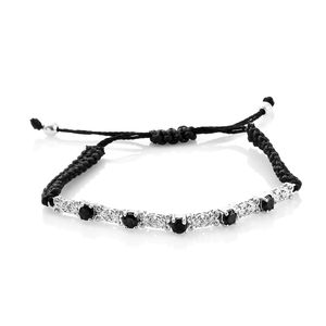 KARIS Collection - Thai Black Spinel Platinum Bond Brass Bracelet on Black Cord (Adjustable) TGW 1.68 cts.
