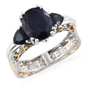 Madagascar Blue Sapphire 14K YG and Platinum Over Sterling Silver Euro Ring (Size 10.0) TGW 5.30 cts.