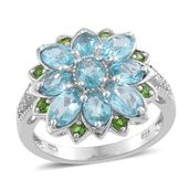 Madagascar Paraiba Apatite, Russian Diopside, Cambodian Zircon Platinum Over Sterling Silver Floral Ring (Size 5.0) TGW 3.87 cts.