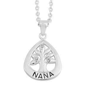 Austrian Crystal Sterling Silver Pendant With Chain (18 in)