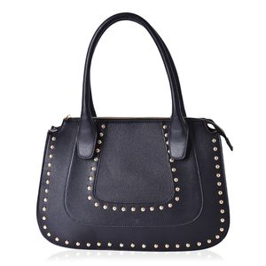 Black Studded Faux Leather Structure Shoulder Bag (14.5x4.5x10 in)
