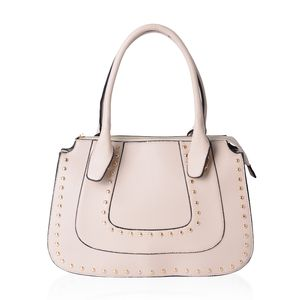 Beige Studded Faux Leather Structure Shoulder Bag (14.5x4.5x10 in)