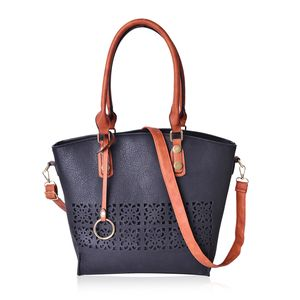Black and Brown Faux Leather Laser-cut Tote Bag with Removable Strap and Key Strap (13x5x12 in)