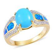 Arizona Sleeping Beauty Turquoise, Multi Gemstone 14K YG Over Sterling Silver Ring (Size 10.0) TGW 2.75 cts.