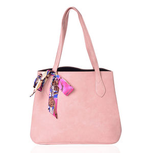 Blush Pink Faux Leather Tote Bag with Detachable Interior Pockets (14x5.5x12.5 in) and Multi Color 100% Polyester Scarf (36x1.5 in)