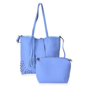 Blue Faux Leather Tote Bag (15.2x11.6x12.2 in) and Pouch Bag (8.2x4x7 in)