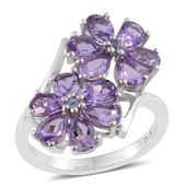 Rose De France Amethyst, Tanzanite Platinum Over Sterling Silver Floral Ring (Size 7.0) TGW 4.75 cts.