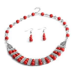 One Day TLV Red Coral Silvertone & Stainless Steel Earrings and Necklace (18 in)