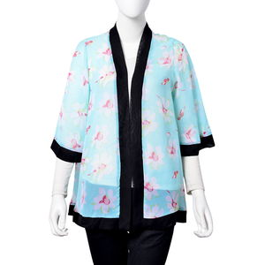 Seafoam 100% Polyester White and Red Floral Pattern Kimono (One Size)