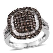 Diamond, Natural Champagne Diamond Platinum Over Sterling Silver Ring (Size 6.0) TDiaWt 1.50 cts, TGW 1.50 cts.