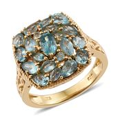Madagascar Paraiba Apatite 14K YG Over Sterling Silver Openwork Cluster Ring (Size 5.0) TGW 3.80 cts.