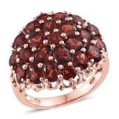 Mozambique Garnet 14K RG Over Sterling Silver Cluster Ring (Size 8.0) TGW 9.55 cts.
