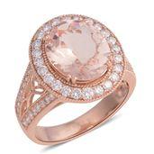 ILIANA 18K RG Marropino Morganite, Diamond Openwork Ring (Size 6.0) TDiaWt 0.86 cts, TGW 4.53 cts.