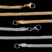 Set of 2 ION Plated YG and Stainless Steel Herringbone Chain (18 in)