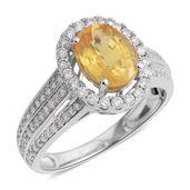 MEGA CLEARANCE ILIANA 18K WG Yellow Sapphire, Diamond Ring (Size 6.0) TDiaWt 0.51 cts, TGW 2.17 cts.