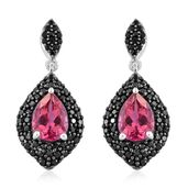 Rose Danburite, Thai Black Spinel Platinum Over Sterling Silver Earrings TGW 5.91 cts.