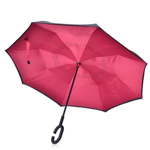 One Time Only Wine Red and Black Polyester Double Layer Inverted Umbrella with Handle (42.52x31.89 in)