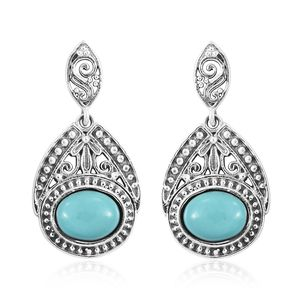 Artisan Crafted Sonoran Blue Turquoise Sterling Silver Earrings TGW 2.48 cts.