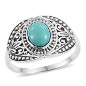 Artisan Crafted Sonoran Blue Turquoise Sterling Silver Men's Ring (Size 10.0) TGW 1.70 cts.