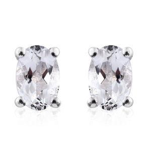 Brazilian Goshenite Platinum Over Sterling Silver Stud Earrings TGW 0.90 cts.