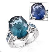 Color Change Fluorite, London Blue Topaz, Cambodian Zircon Platinum Over Sterling Silver Ring (Size 7.0) TGW 10.76 cts.