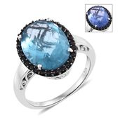 Color Change Fluorite, Thai Black Spinel Platinum Over Sterling Silver Ring (Size 11.0) TGW 10.22 cts.