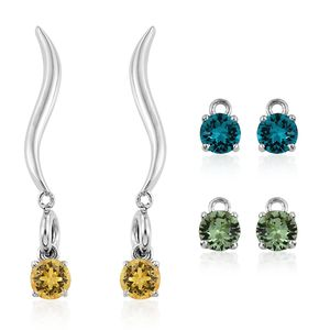KARIS Collection - Platinum Bond Brass Interchangebale Earrings Made with SWAROVSKI Multi Color Crystal TGW 2.70 cts.