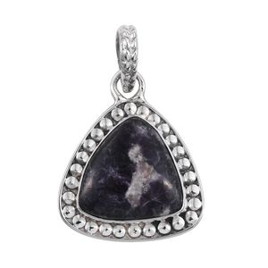 Artisan Crafted Lepidolite Sterling Silver Pendant without Chain TGW 9.11 cts.