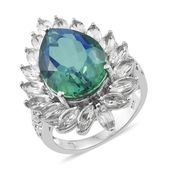 Peacock Quartz, White Topaz Platinum Over Sterling Silver Ring (Size 10.0) TGW 17.00 cts.