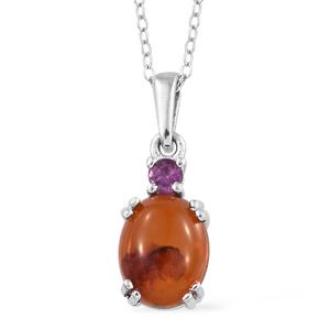 Baltic Amber, Niassa Ruby Platinum Over Sterling Silver Pendant With Stainless Steel Chain (20 in) TGW 0.15 cts.