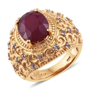 Niassa Ruby, Tanzanite 14K YG Over Sterling Silver Ring (Size 7.0) TGW 8.15 cts.