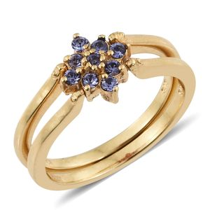 KARIS Collection - ION Plated 18K YG Brass Reversible Flower Ring (Size 7.0) Made with SWAROVSKI Indian Pink and Tanzanite Crystal TGW 0.45 cts.