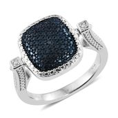 KARIS Collection - Blue Diamond (IR), Diamond Platinum Bond Brass Accent Reversible Ring (Size 8.0)