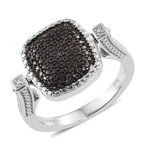 Black Diamond (IR), Diamond Accent ION Plated Black and Platinum Bond Brass Reversible Ring (Size 7.0)