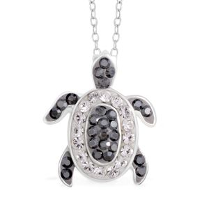 Austrian White and Black Crystal Sterling Silver Turtle Pendant With Chain (18 in)