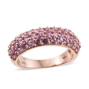 Madagascar Pink Sapphire 2 Micron RG Sterling Silver Ring (Size 8.0) TGW 2.24 cts.