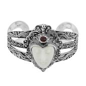One Time Only Deal Bali Goddess Collection Carved Bone, Niassa Ruby Sterling Silver Cuff (7.50 in) TGW 13.48 cts.