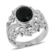 Bali Legacy Collection Thai Black Spinel Sterling Silver Ring (Size 8.0) TGW 4.56 cts.