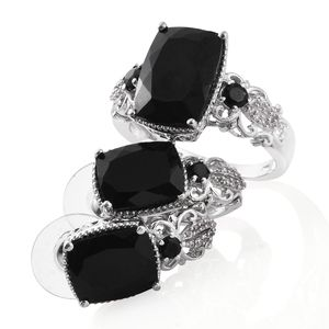 Australian Black Tourmaline, Thai Black Spinel, Cambodian Zircon Platinum Over Sterling Silver Earrings and Ring (Size 9) TGW 16.60 cts.