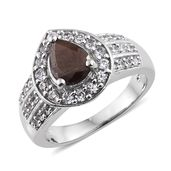 Chocolate Sapphire, Cambodian Zircon Platinum Over Sterling Silver Ring (Size 10.0) TGW 3.26 cts.