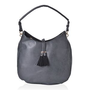 Black Faux Leather Hobo Bag (14.2x4.4x12 in)
