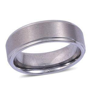 Simulated White Diamond Tungsten Carbide Men's Band Ring (Size 11.5)