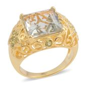 Green Amethyst, Hebei Peridot 14K YG Over Sterling Silver Star Ring (Size 9.0) TGW 8.22 cts.