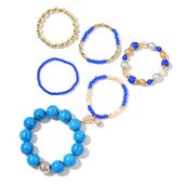 Blue Howlite, Resin, Glass Goldtone Set of 6 Bracelet (6, 6.50, 7In) TGW 562.80 cts.