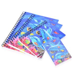 Set of 4 Blue 3D Marine Life Printed Notebooks (7.5x5.5-3.25x2.50 in)