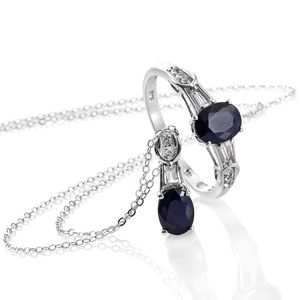 Kanchanaburi Blue Sapphire, White Topaz Platinum Over Sterling Silver Ring (Size 8) and Pendant With Chain (20 in) TGW 3.35 cts.